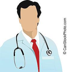 doutor médico, com, estetoscópio, ligado