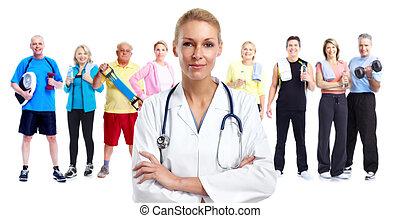 doutor médico, jovem, woman.
