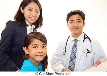 doutor médico, sorrindo, asiático