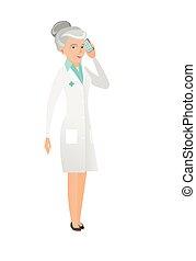 doutor, móvel, falando, telefone., sênior, caucasiano