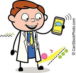 doutor, móvel, mostrando, ilustração, vetorial, mensagem, caricatura