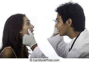doutor masculino, com, femininas, paciente