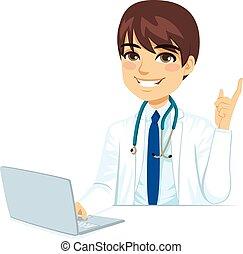 doutor masculino, com, laptop