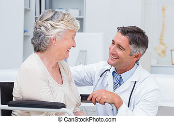 doutor masculino, olhar, femininas, paciente
