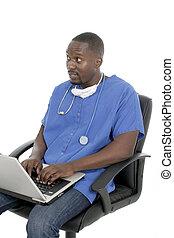 doutor masculino, ou, enfermeira, 8