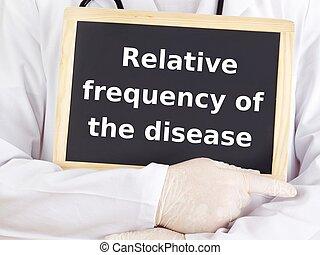 doutor, mostra, information:, relativo, frequência, de, a,...