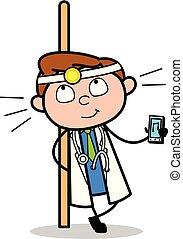 doutor, mostrando, -, ilustração, vetorial, música, dispositivo, profissional, caricatura