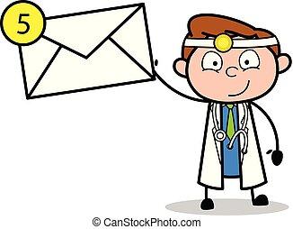doutor, mostrando, ilustração, vetorial, mensagem, caricatura