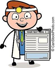 doutor, mostrando, ilustração, vetorial, relatório, caricatura