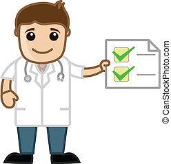 doutor, mostrando, médico, relatório