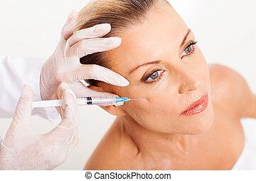 doutor mulher, dar, idade, meio, rosto, injeção,...