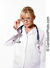 doutor mulher, jovem, fundo, loiro, branca