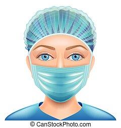 doutor mulher, máscara, isolado, rosto, vetorial