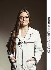 doutor mulher, saúde médica, cuidado, stethoscope.