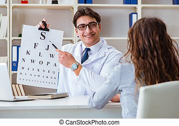 doutor, oculista, com, letra, mapa, conduzir, um, teste olho, cheque