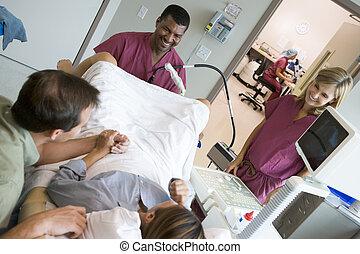 doutor, ovos, recuperando, ultrasom, usando, ovário