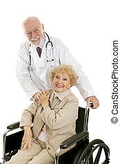 doutor, paciente, amigável, &