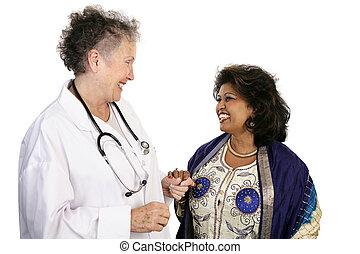 doutor, paciente, cooperação