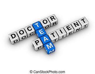 doutor, paciente, equipe