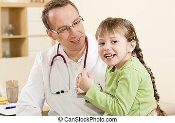 doutor, paciente, pediatra, criança