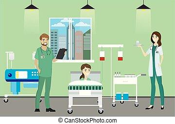 doutor, paciente, quarto hospital, enfermeira