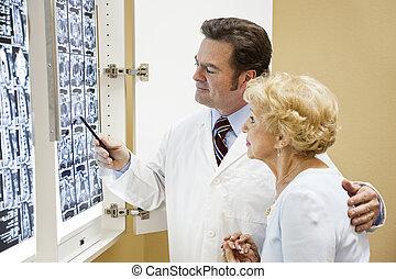 doutor, paciente, resultados teste