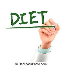 doutor, palavra, dieta, escrita
