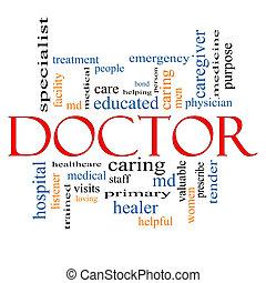 doutor, palavra, nuvem, conceito
