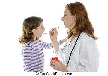 doutor, pediatra, mulher, colher, medicina