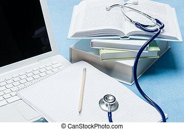 doutor, pesquisa médica, livro, estetoscópio, mentindo