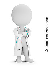 doutor, pessoas, -, estetoscópio, pequeno, 3d