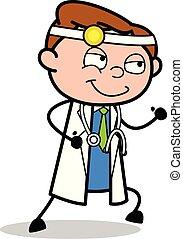 doutor, pose, -, ilustração, executando, vetorial, profissional, caricatura