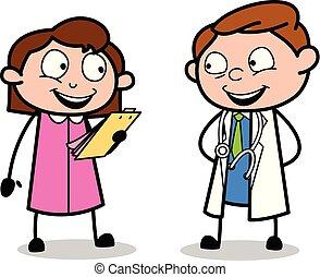 doutor, positivo, médico, -, ilustração, ver, vetorial, relatório, profissional, caricatura, feliz