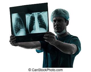 doutor, radiologist, imagem, pulmão, examaning, cirurgião,...