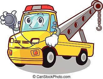 doutor, reboque, isolado, corda, caminhão, caricatura