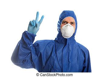 doutor, roupa, mostrando, protetor, v