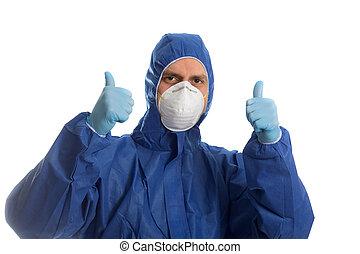 doutor, roupa, polegares, mostrando, cima., protetor