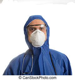 doutor, roupa, protetor