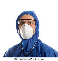 doutor, roupa protetora