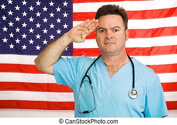 doutor, salutes, a, bandeira