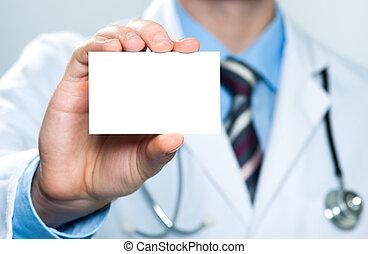 doutor, segurando, cartão negócio branco