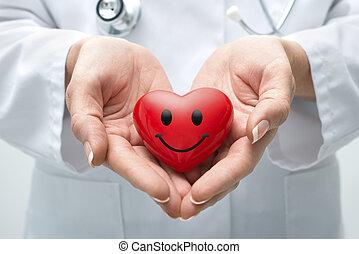 doutor, segurando, coração
