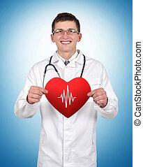 doutor, segurando, coração, com, pulso