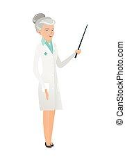 doutor, segurando, stick., sênior, ponteiro, caucasiano