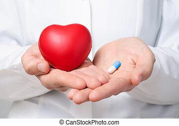 doutor, segurando, um, coração, e, um, pílula