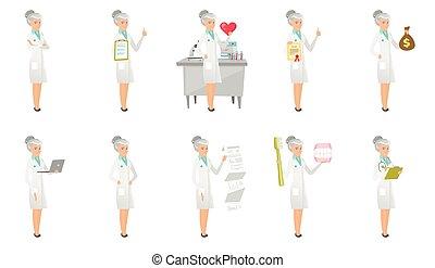 doutor, set., vetorial, ilustrações, sênior, caucasiano