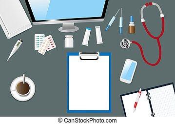 doutor, topo, accessories., tabela, médico, vista