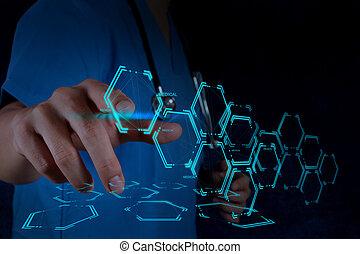 doutor, trabalhando, modernos, interface, computador, mão, medicina