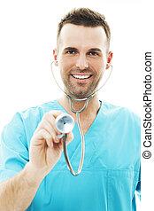 doutor, usando, um, estetoscópio