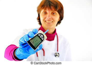 doutor, verificar, diabetic's, açúcar sangue